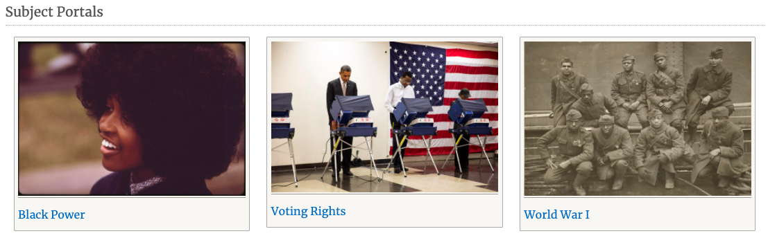 Screenshot of subject portals on African American History page