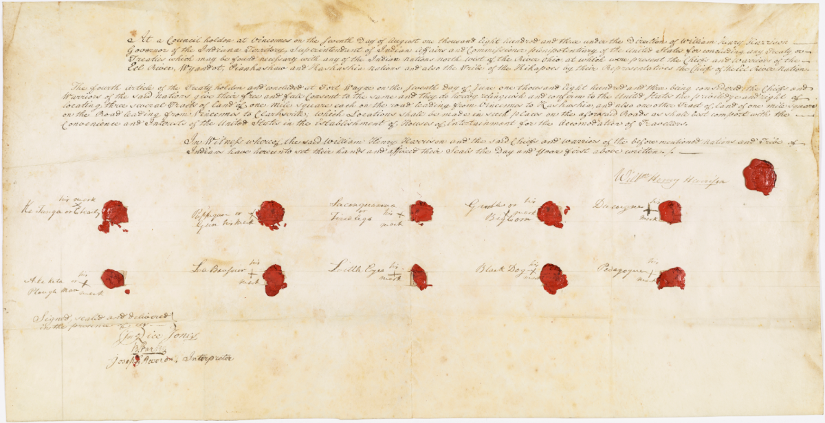 Ratified Indian Treaty showing signatures