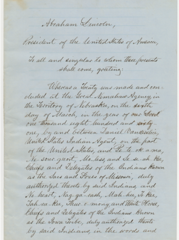 Ratified Indian Treaty first page