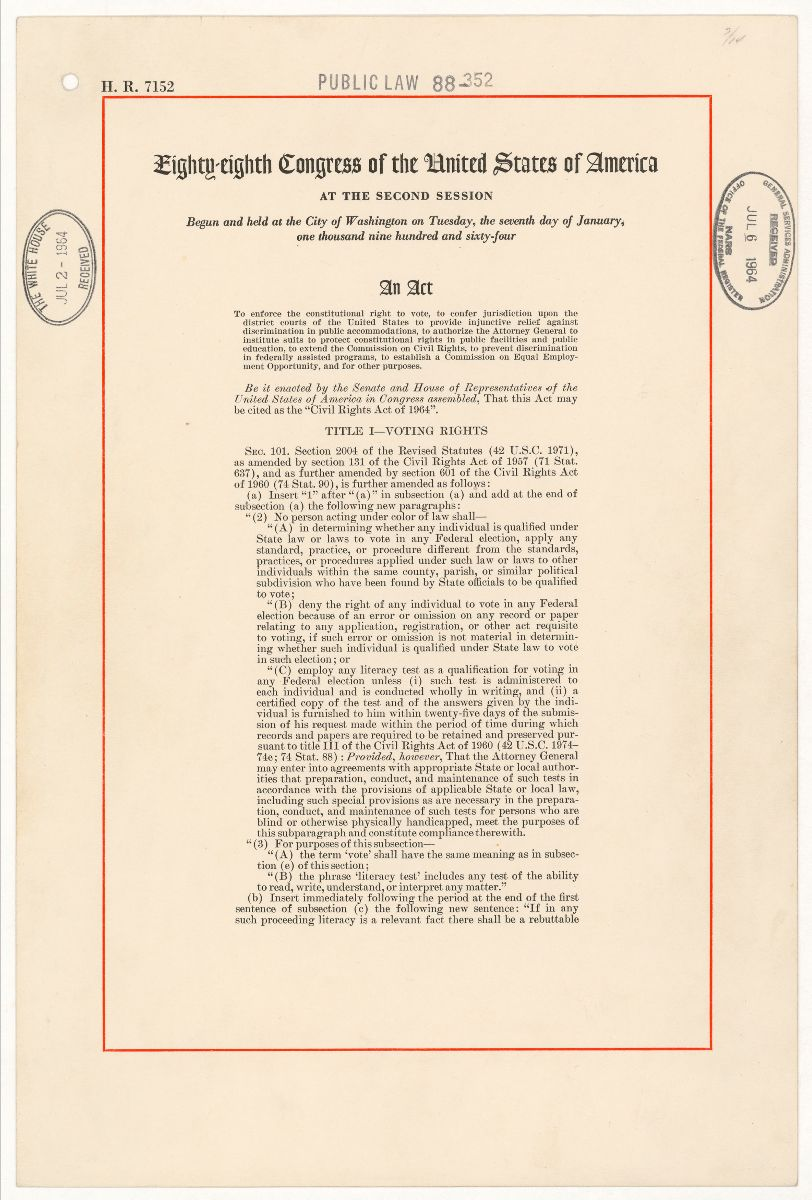 First page of Civil Rights Act of 1964