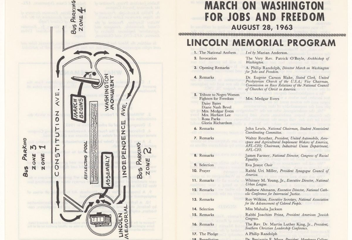 Image of map and program from the March on Washington for Jobs and Freedom. A map of the Washington Mall is on the left side and a program of events is on the right side of the page