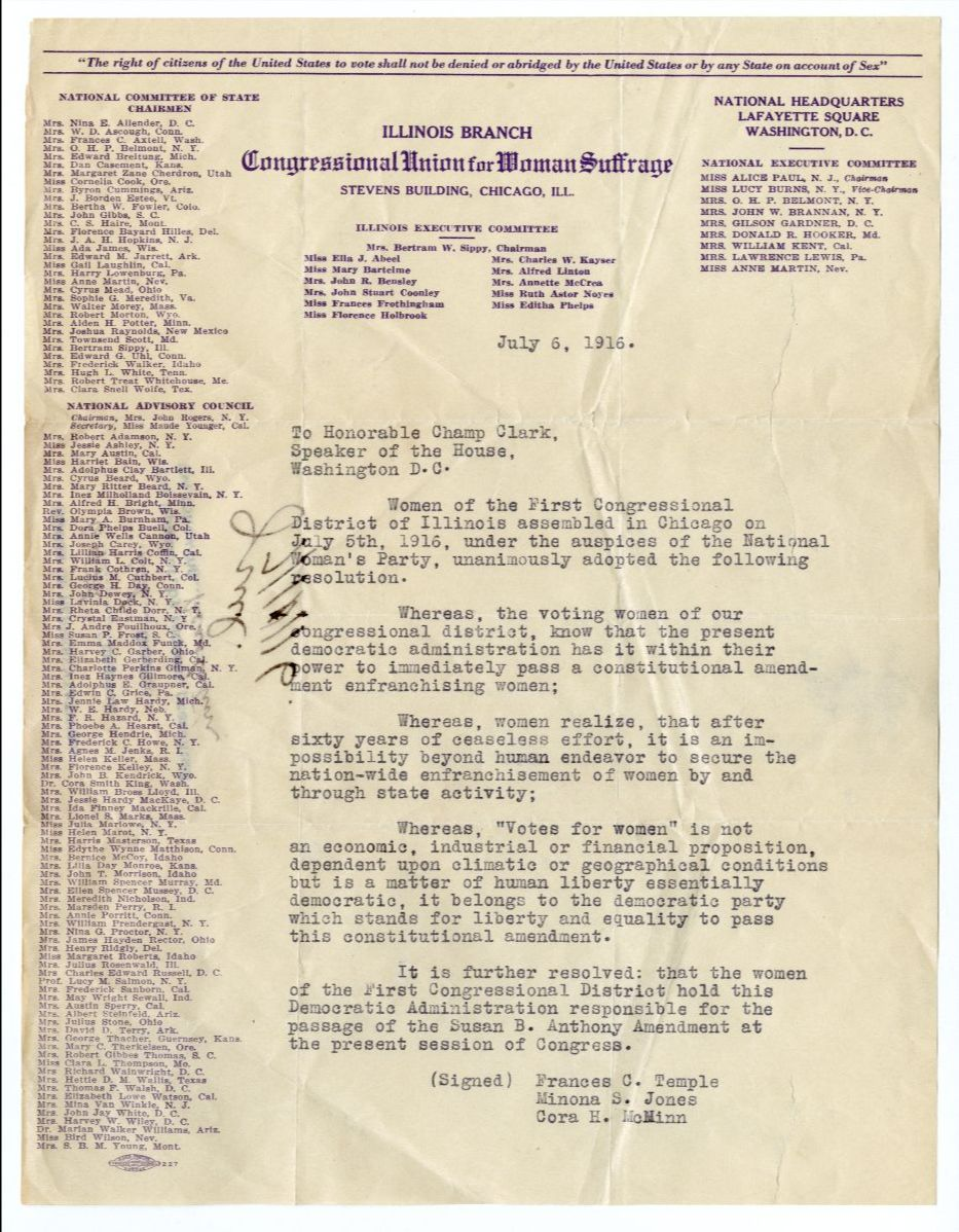Document show a petition of women in favor of suffrage amendment
