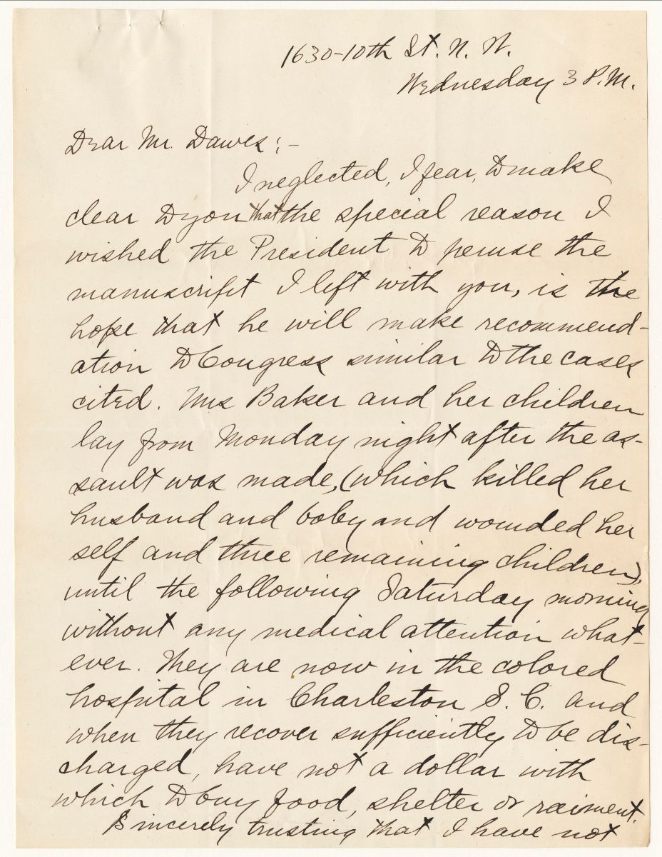 Page 1 of a handwritten letter from Ida B. Wells to Mr. Dawes