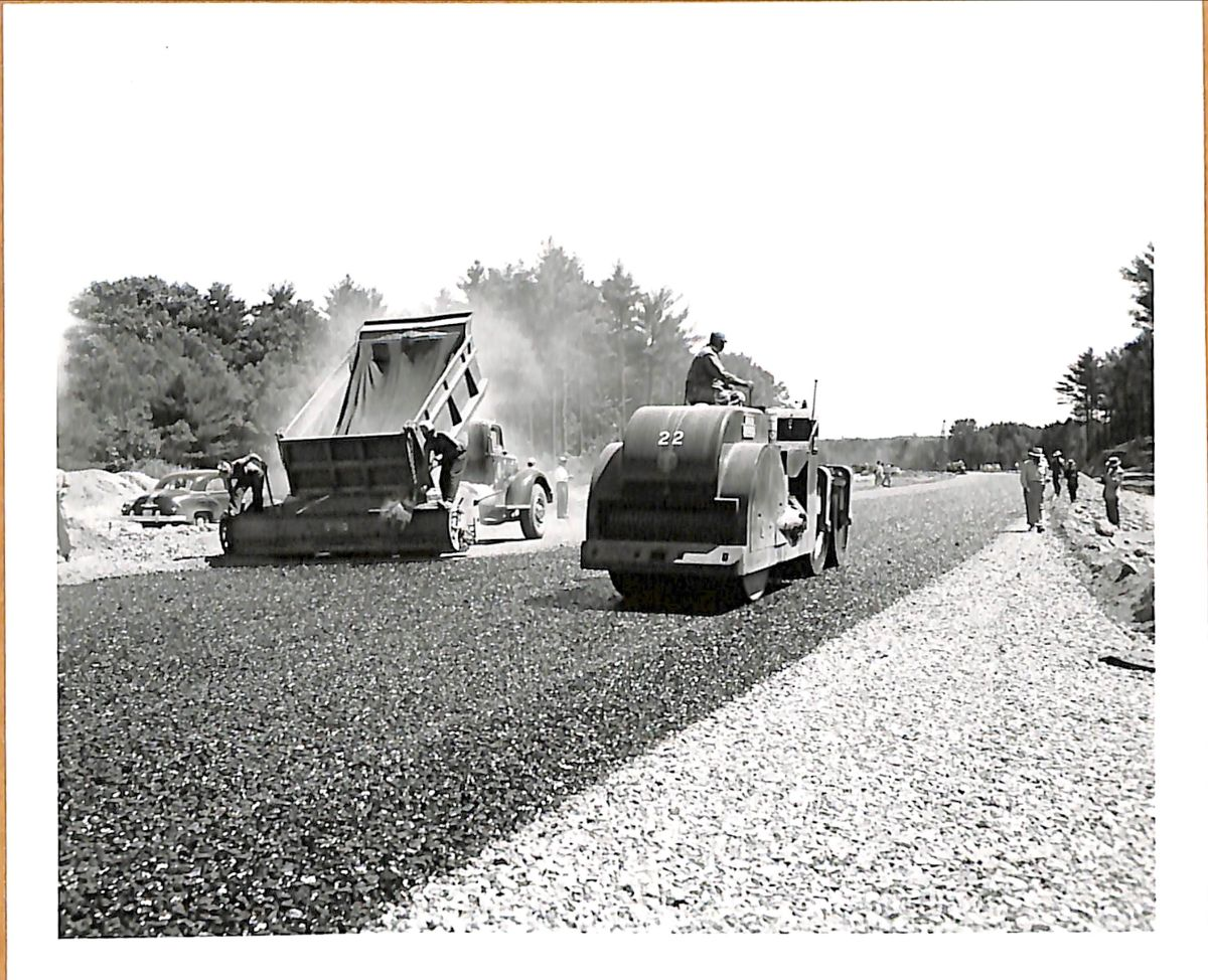 Construction asphalt mix on turnpike