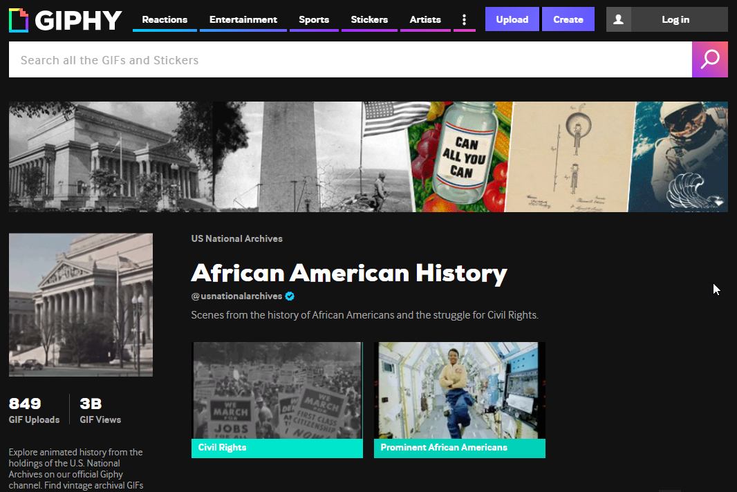 Screenshot of National Archives account page on GIPHY showing the African American History GIF collection