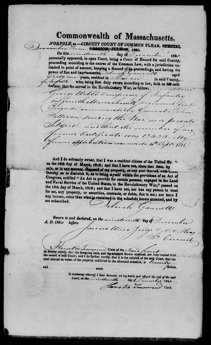 Page within Revolutionary War Pension and Bounty Land Warrant Application for Deborah Gannett