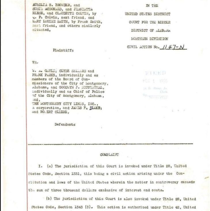 First page of civil case file for Browder v. Gayle