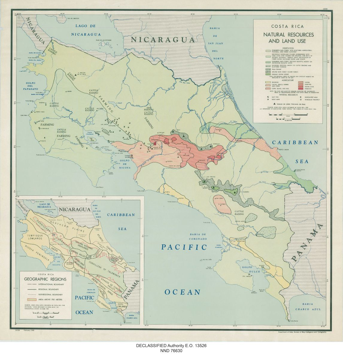 Map of Costa Rica natural resources and land use, 1946