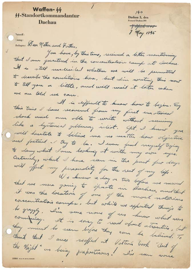 Page 1 of a handwritten letter to Reverend and Mrs. D.H. Porter from their son, describing the conditions of the concentration camp at Dachau, Germany, written in 1945