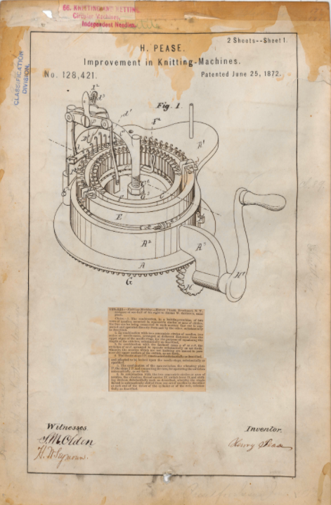 Patent drawing of improvement to knitting machine