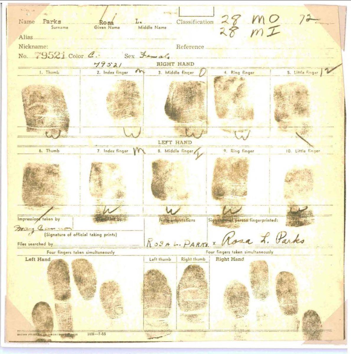 Exhibit from Browder v. Gayle case file showing Rosa Parks fingerprint card