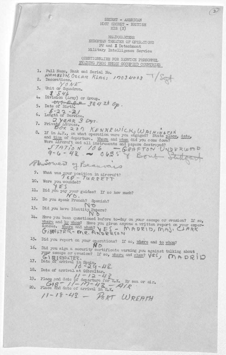 Typewritten escape and evasion report form with handwritten details