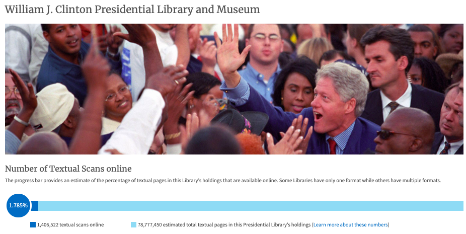 Screenshot of William Clinton Presidential Library display