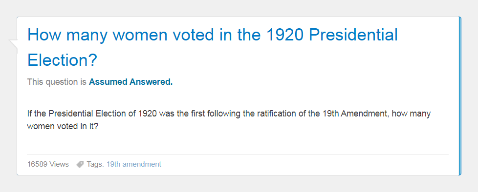 """Image of """"How many women voted in the 1920 Presidential Election"""" question"""