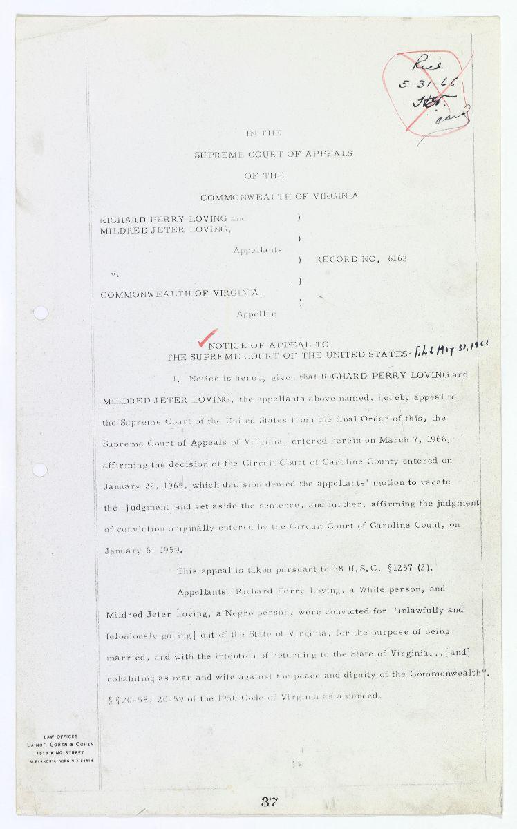 Appeal for Loving V. Virginia, 1966
