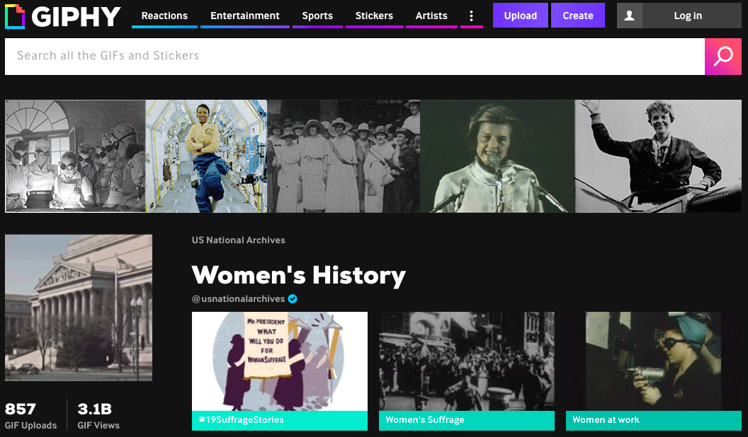 Screenshot of the Women's History collection on the National Archives GIPHY channel