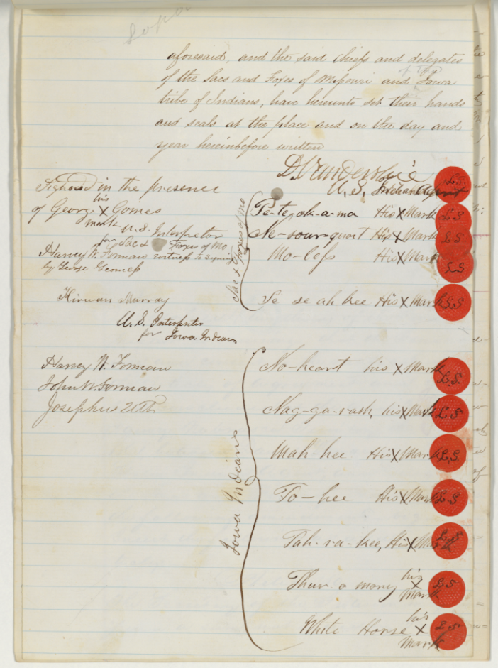 Ratified Indian treaty showing signature page