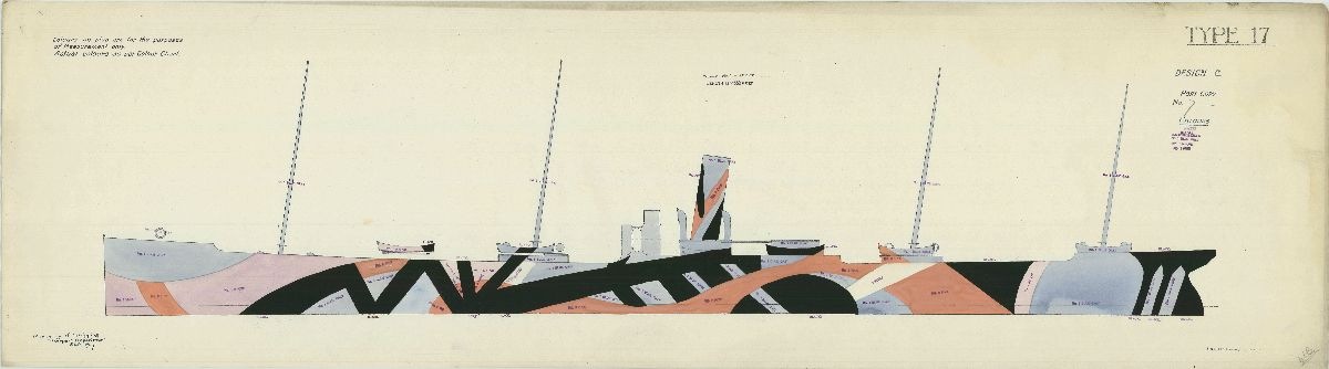 Ship drawing showing abstract colors and designs painted on the outside of the ship for camouflage