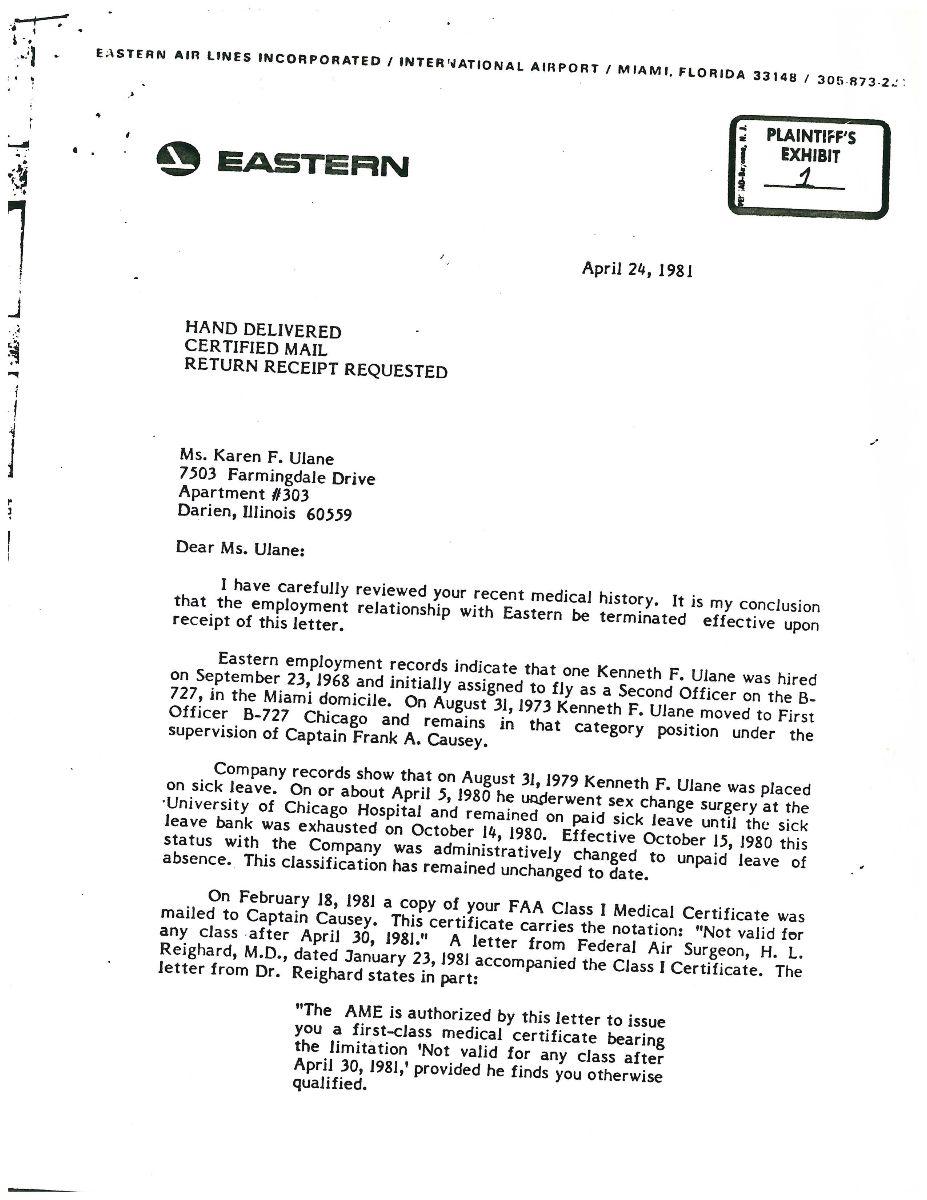 Typewritten termination letter from Eastern Airlines to Karen Ulane