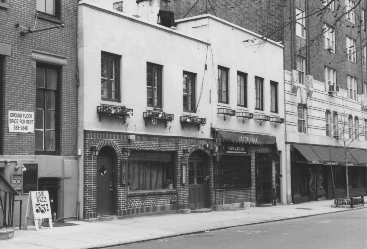 Black and white photograph of the Stonewall Inn Historic site in New York City