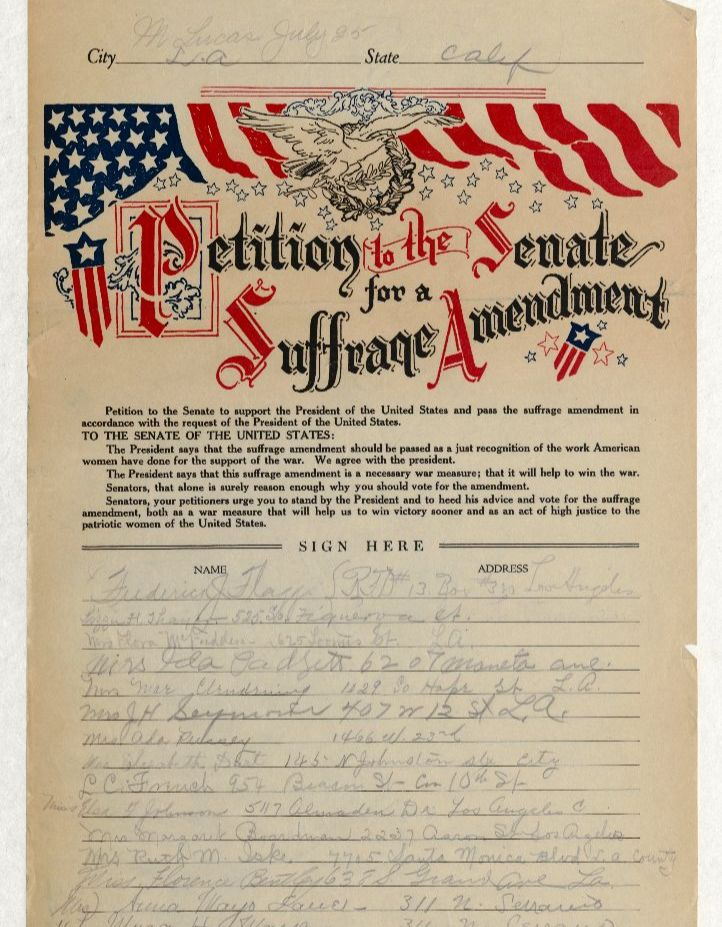 Document showing petition in favor of suffrage amendment