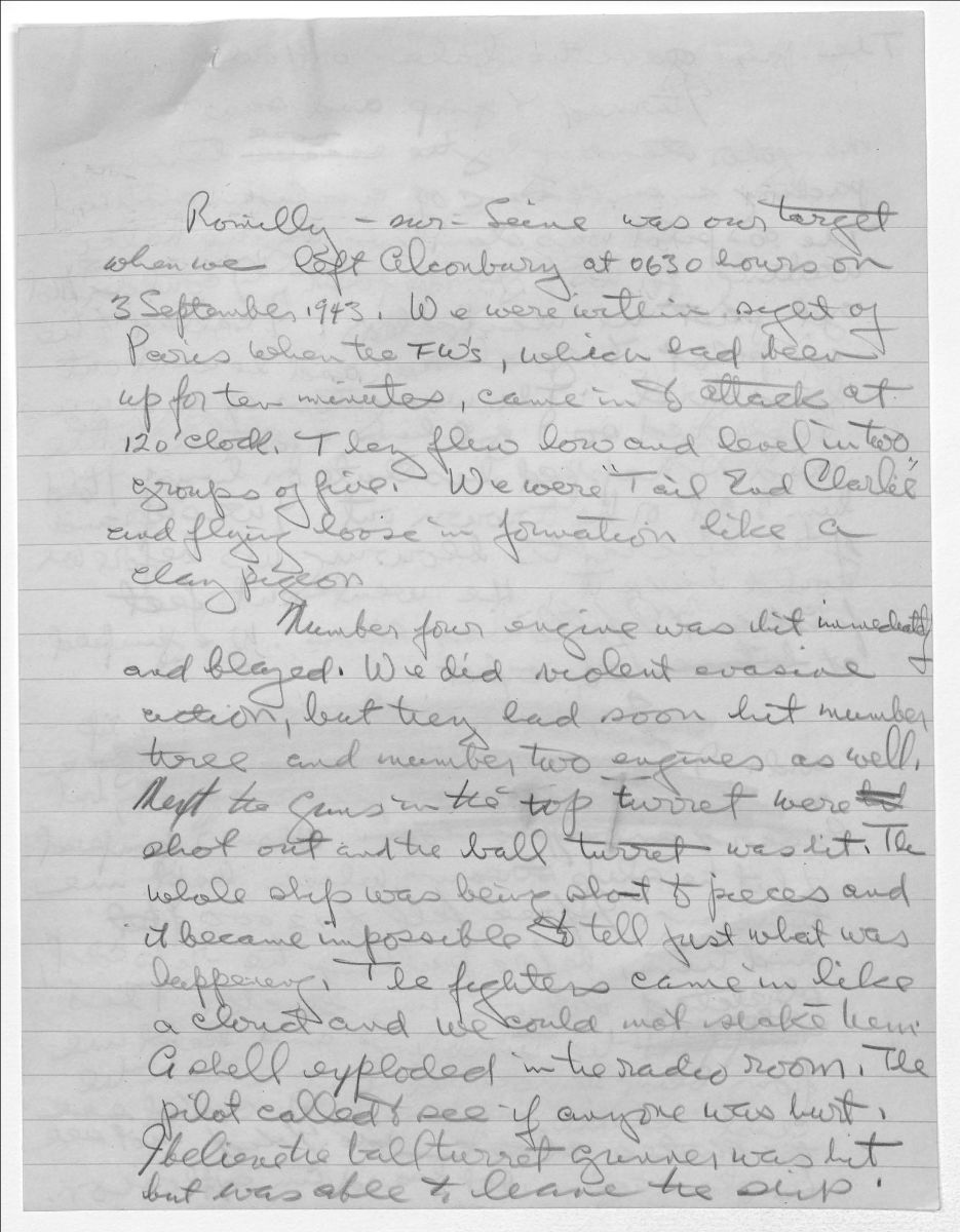 Handwritten narrative in escape and evasion report