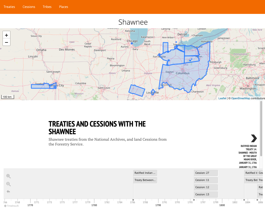 Screenshot of the Treaties Explorer website, showing Treaties and Cessions with the Shawnee