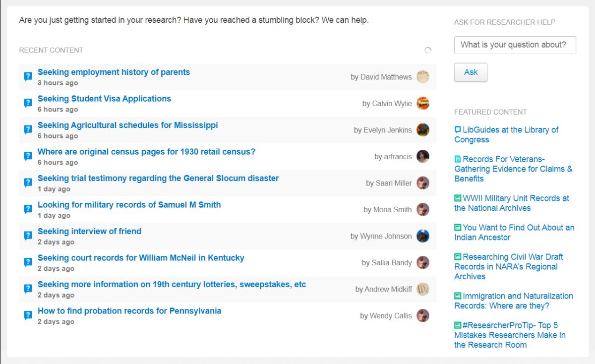 Screenshot of recent questions on History Hub