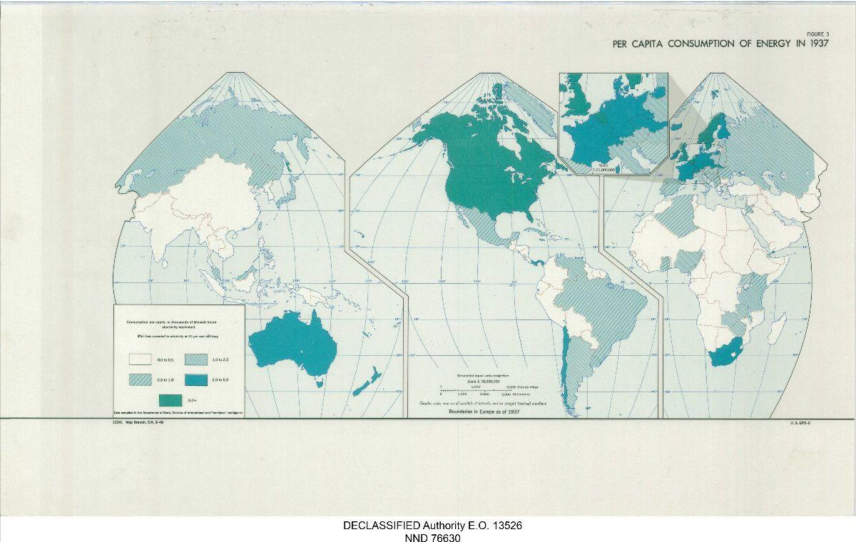 Map of Boundaries in Europe as of 1937 per capita consumption of energy