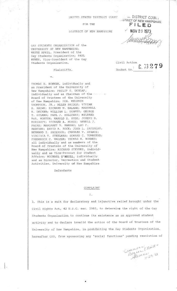 Typewritten page from the case file complaint