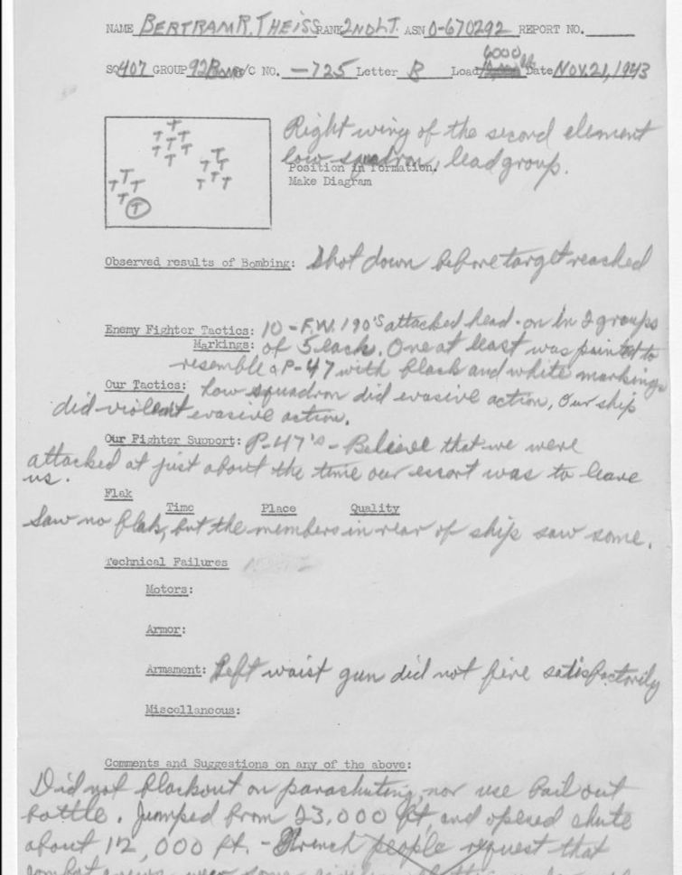 Typewritten escape and evasion report with handwritten details. Form also shows a drawing of a flying formation