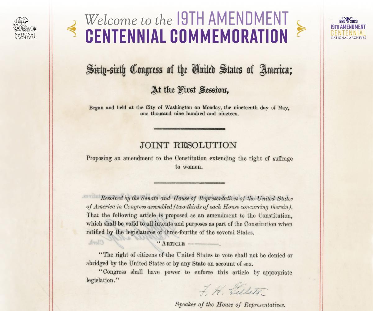Image of 19th Amendment document