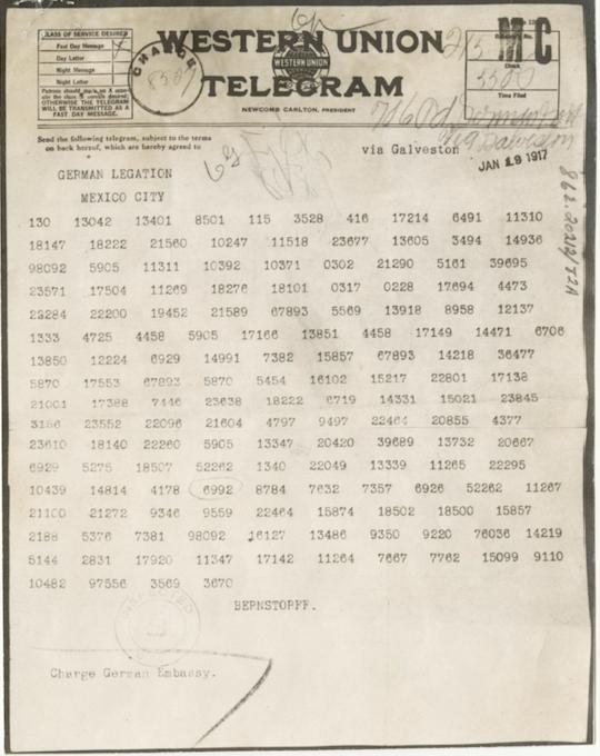 Western Union telegram written in code