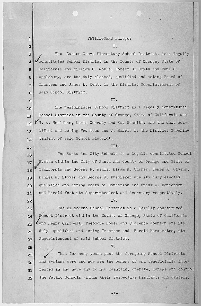 Second page of the petition in Mendez v. Westminster