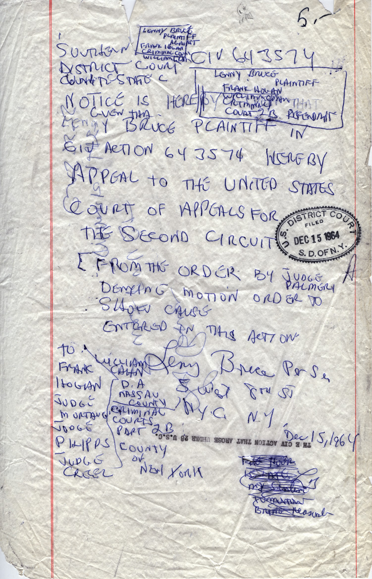 Handwritten appeal request from Lenny Bruce, 1964