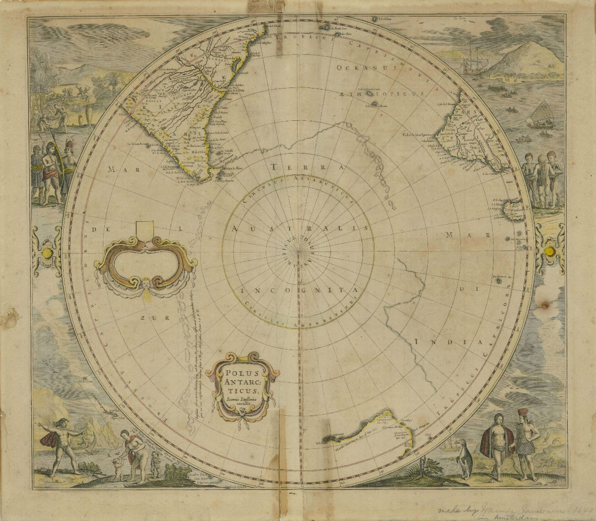Illustrated atlas page of the Polus Antarcticus