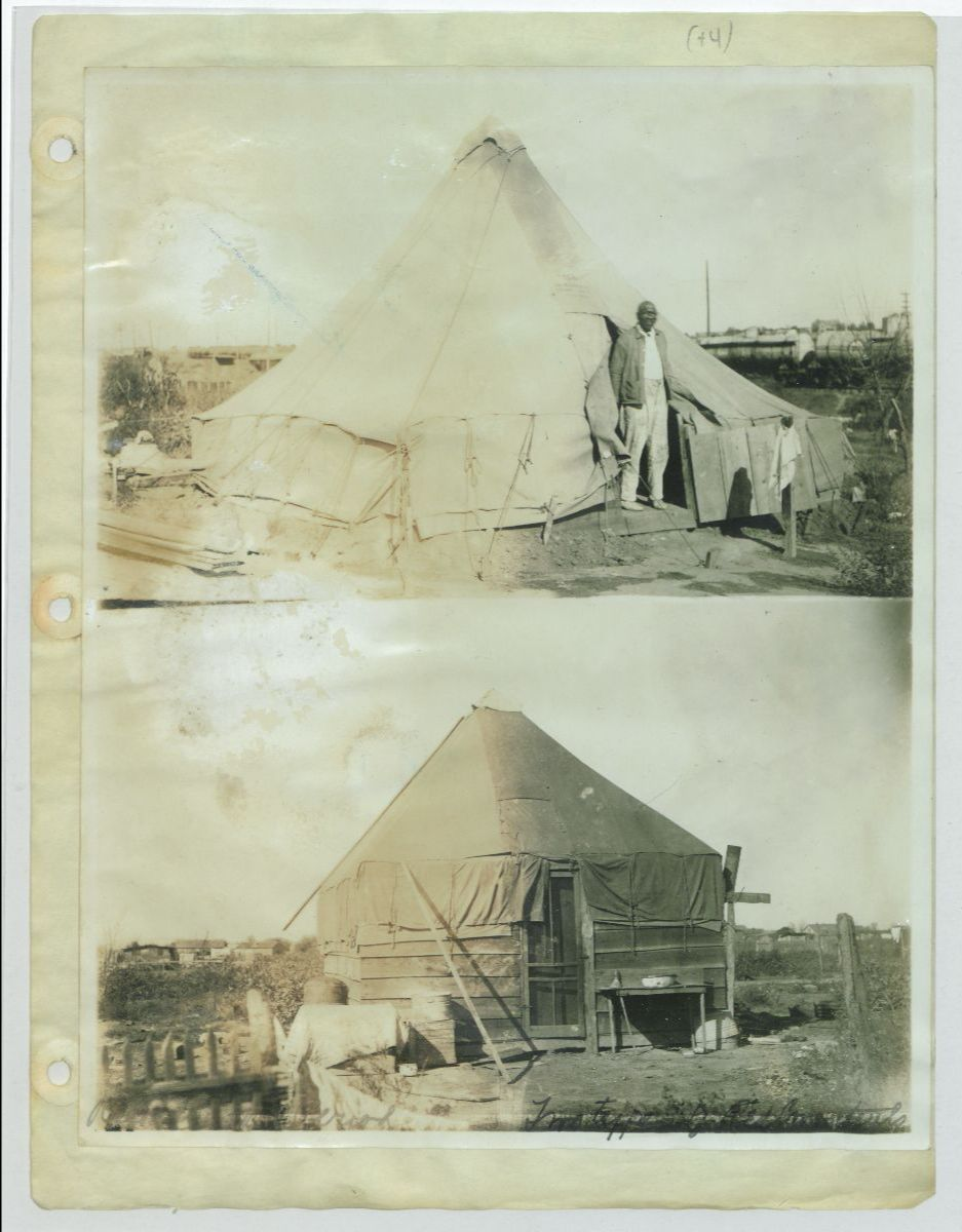 Black and white photographs from the American Red Cross photo album. Two pictures show a man standing by a temporary tent shelter
