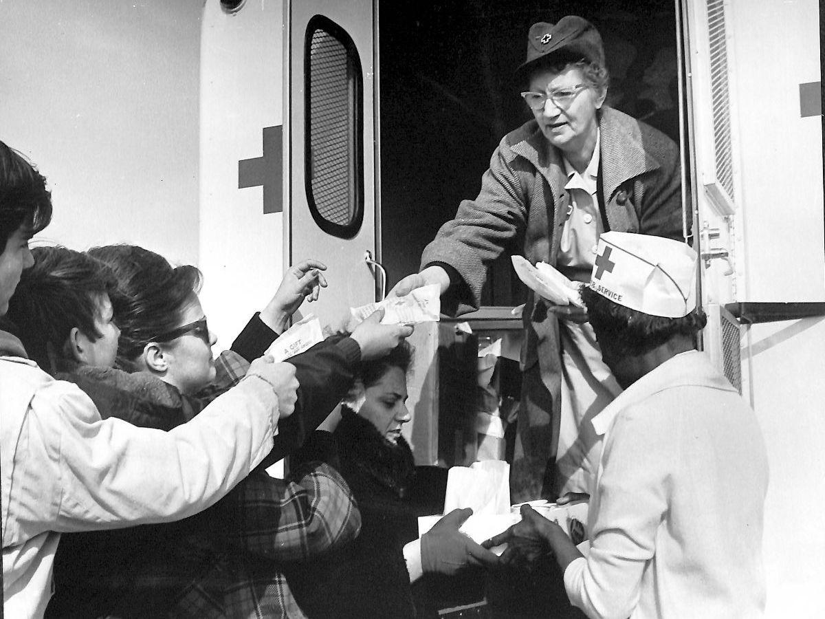 American Red Cross disaster workers help tornado victims, 1967