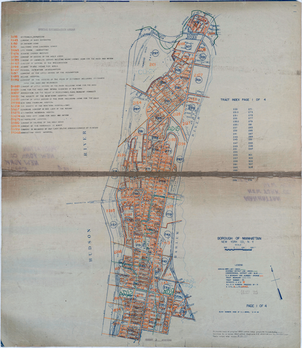 1950 Census Enumeration District Map showing New York County in Manhattan, New York. The map shows the numbered enumeration districts throughout the county