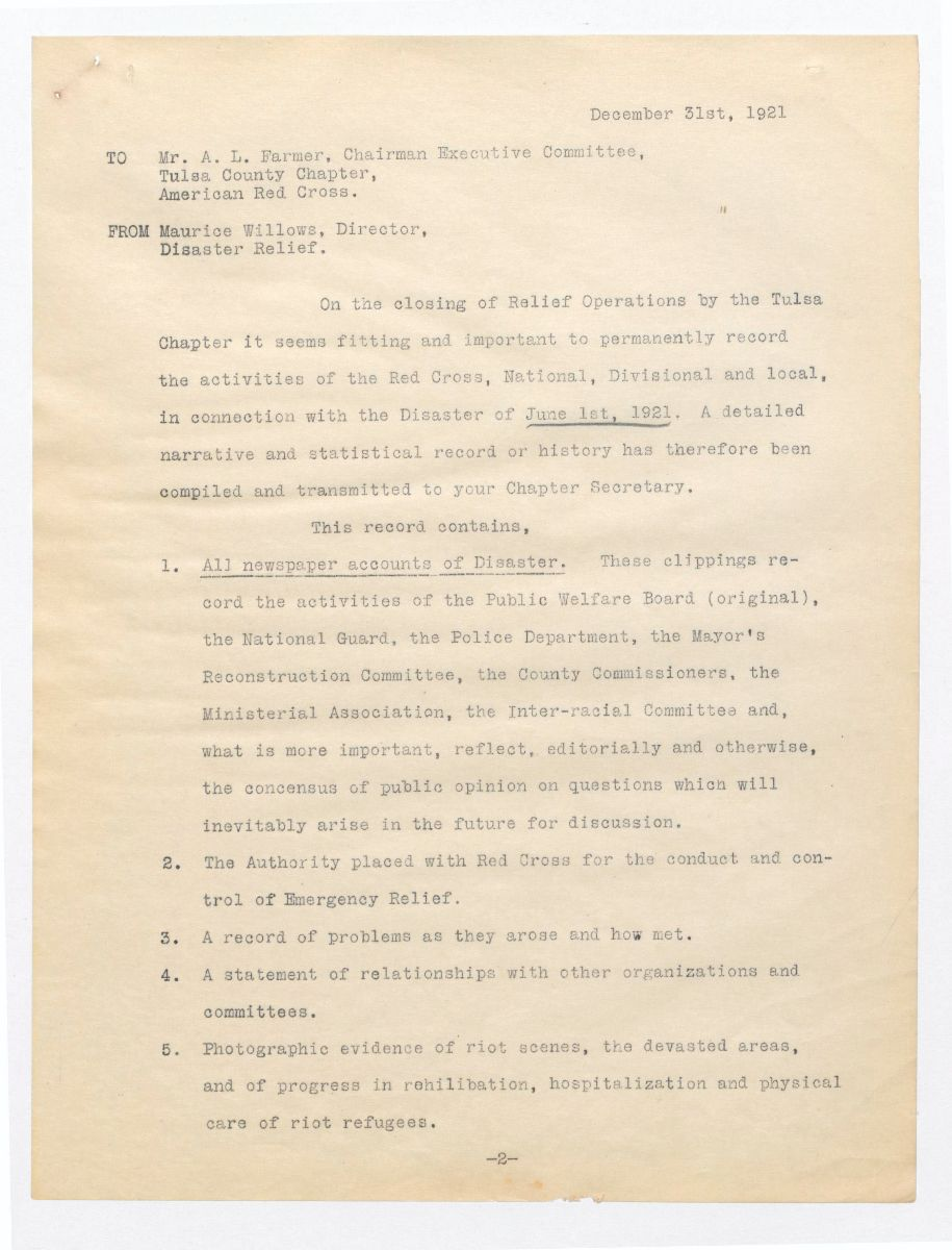 Typed report from American Red Cross director describing the relief effort after the Tulsa Race Massacre
