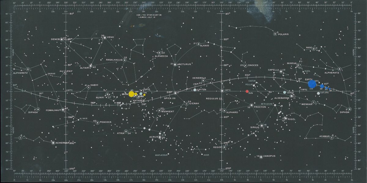 Apollo 11 star chart. Black background with labeled stars