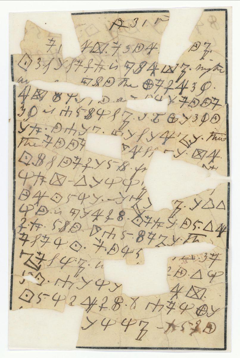 Letter written in cipher