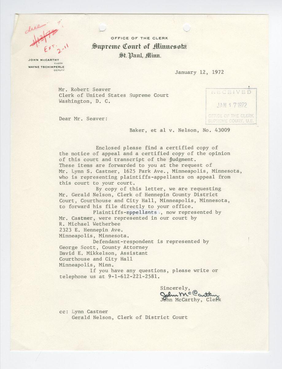 Typewritten document from the Baker v. Nelson case