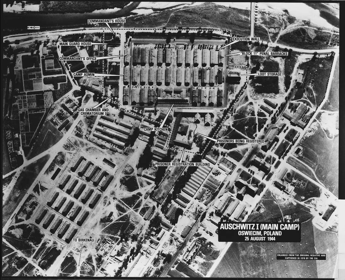 Black and white aerial photograph of Auschwitz Concentration Camp taken in August 1944