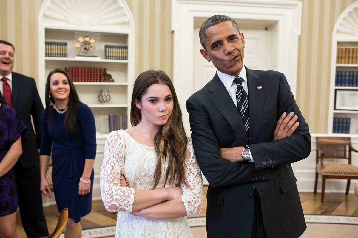 President Obama poses with Olympic gymnast McKayla Maroney