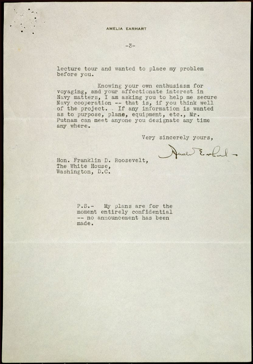Page 2 of a typewritten letter from Amelia Earhart to President Roosevelt