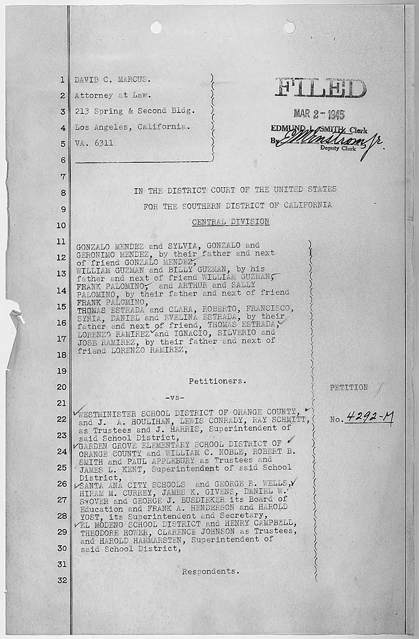 First page of the petition in Mendez v. Westminster