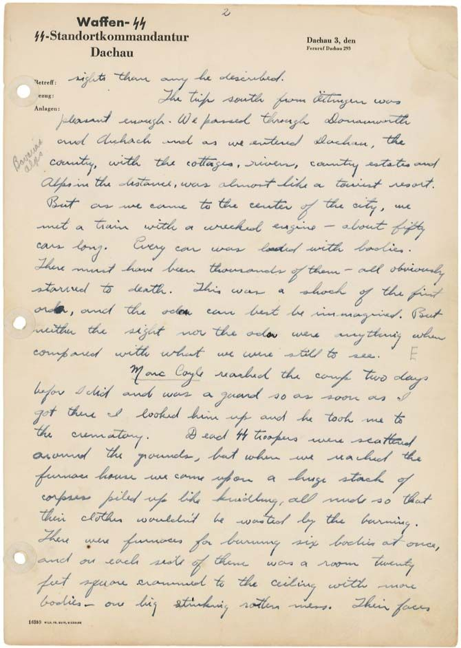 Page 2 of a handwritten letter to Reverend and Mrs. D.H. Porter from their son, describing the conditions of the concentration camp at Dachau, Germany, written in 1945