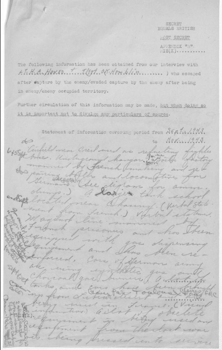 Typewritten escape and evasion report with handwritten narrative