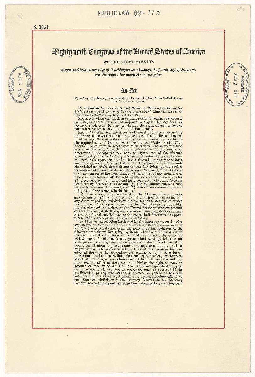 First page of the Voting Rights Act of 1965 document with public law stamp at top